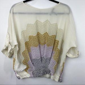 BCBGMaxazria silk short sleeve blouse